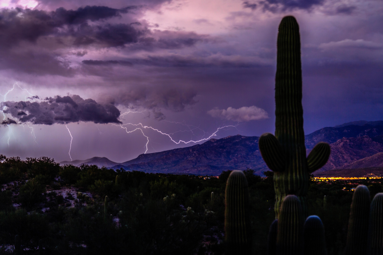 Lightning splits the sky as nature ushers out Tucson's monsoon season.