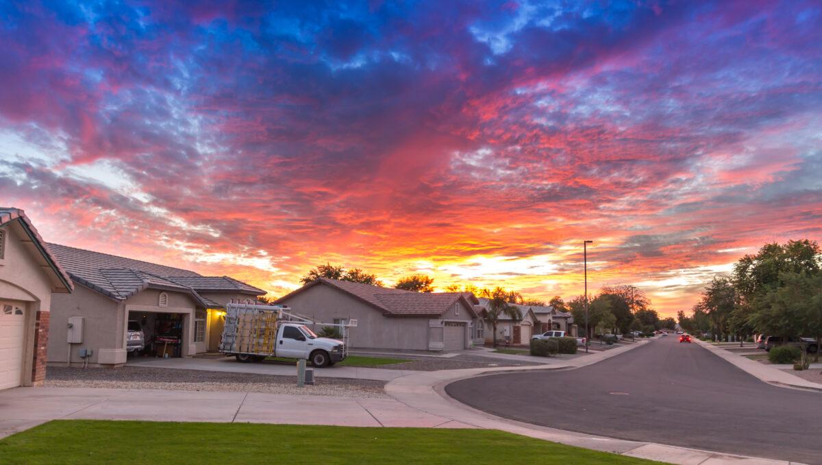 Sunset in housing community